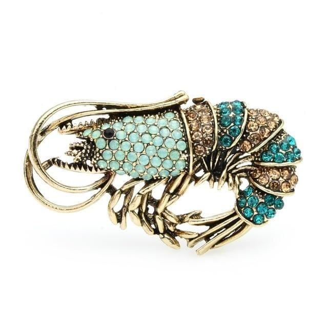 Blue Shrimp Brooch | Brooch Paradise