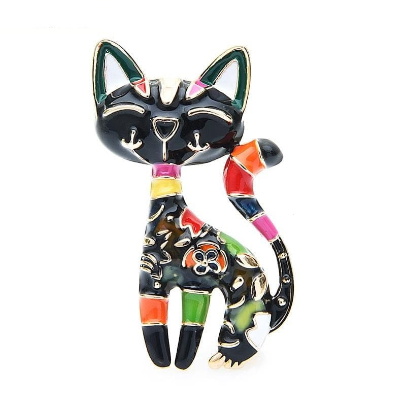 Elegant Cat Brooch - Black Color | Brooch Paradise