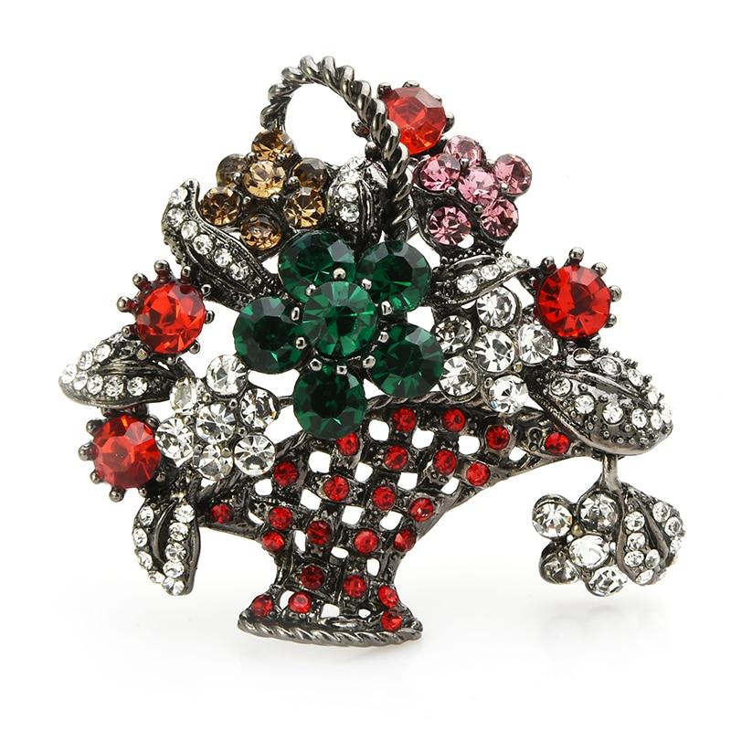 Flower Basket Brooch - Green Flower | Brooch Paradise