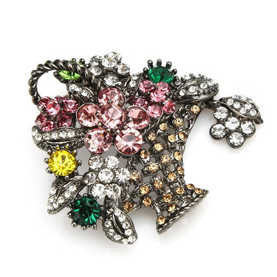 Flower Basket Brooch - Pink Flower | Brooch Paradise