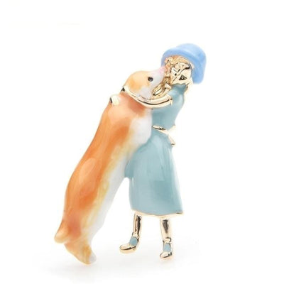 Friends Brooch - Tenderness with its dog | Brooch Paradise