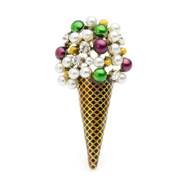 Ice Cream Brooch - Gold Color | Brooch Paradise