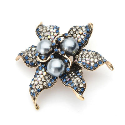 Lotus Brooch - Grey Pearl | Brooch Paradise
