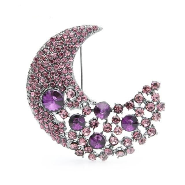Moon Brooch - Purple Color | Brooch Paradise