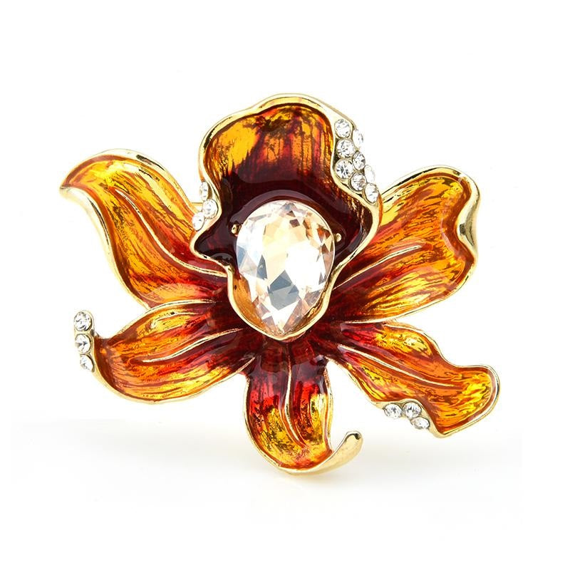 Orange Flower Brooch | Brooch Paradise