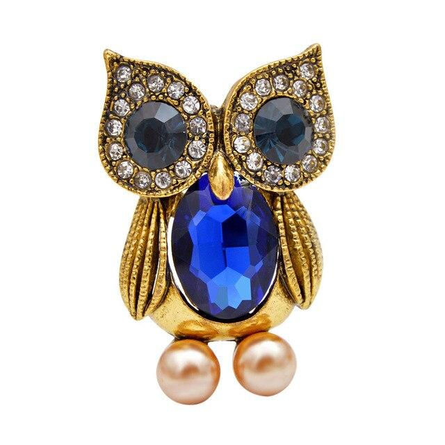 Owl Brooch - Blue Color | Brooch Paradise