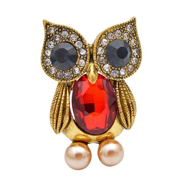 Owl Brooch - Red Color | Brooch Paradise