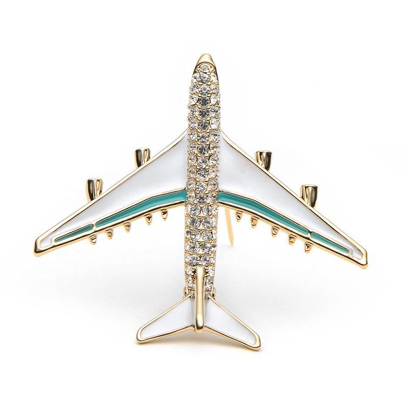 Rhinestone Airplane Brooch - Blue Color | Brooch Paradise