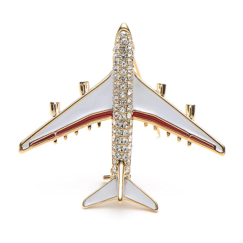 Rhinestone Airplane Brooch - Red Color | Brooch Paradise