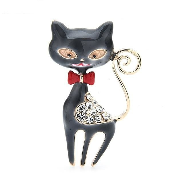 Rhinestone Cat Brooch - Grey Color | Brooch Paradise