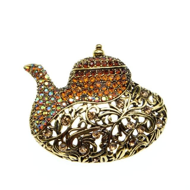 Rhinestone Teapot Brooch - Gold Color | Brooch Paradise