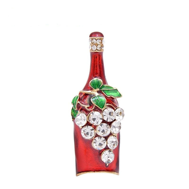 Rhinestone Wine Bottle Brooch | Brooch Paradise