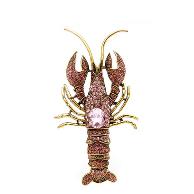 Rhinestone Lobster Brooch - Pink Color | Brooch Paradise