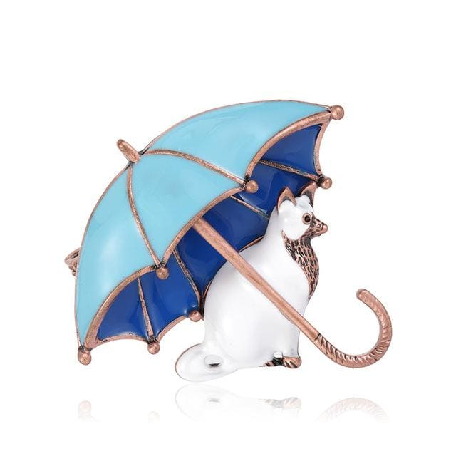 Umbrella Cat Brooch - Blue Color | Brooch Paradise