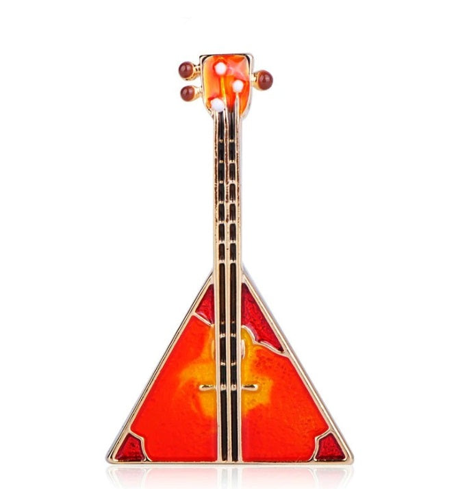Vintage Guitar Brooch - Red Color | Brooch Paradise