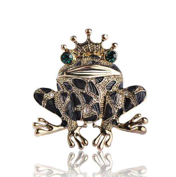 Vintage Frog Brooch - Black Color | Brooch Paradise