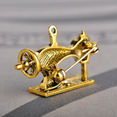 Sewing Machine Brooch - Gold Color | Brooch Paradise