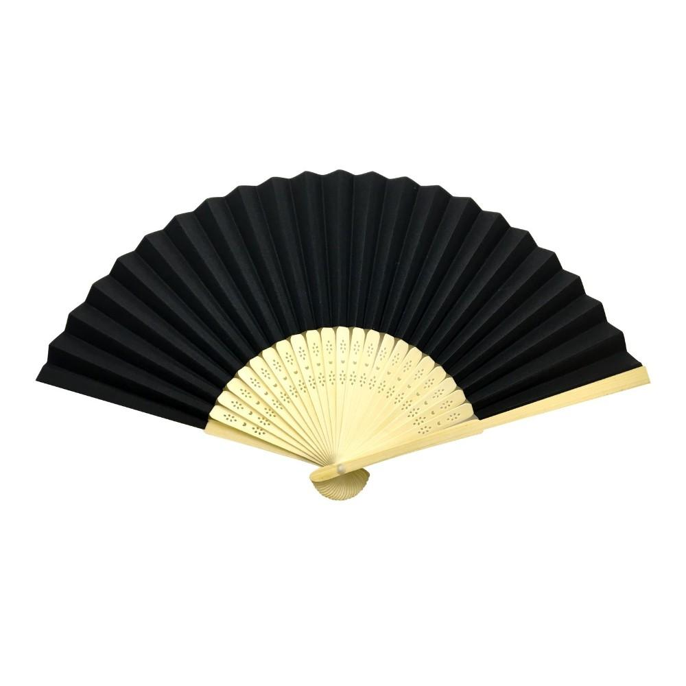 Black Paper Hand Held Bamboo and Wooden Fan