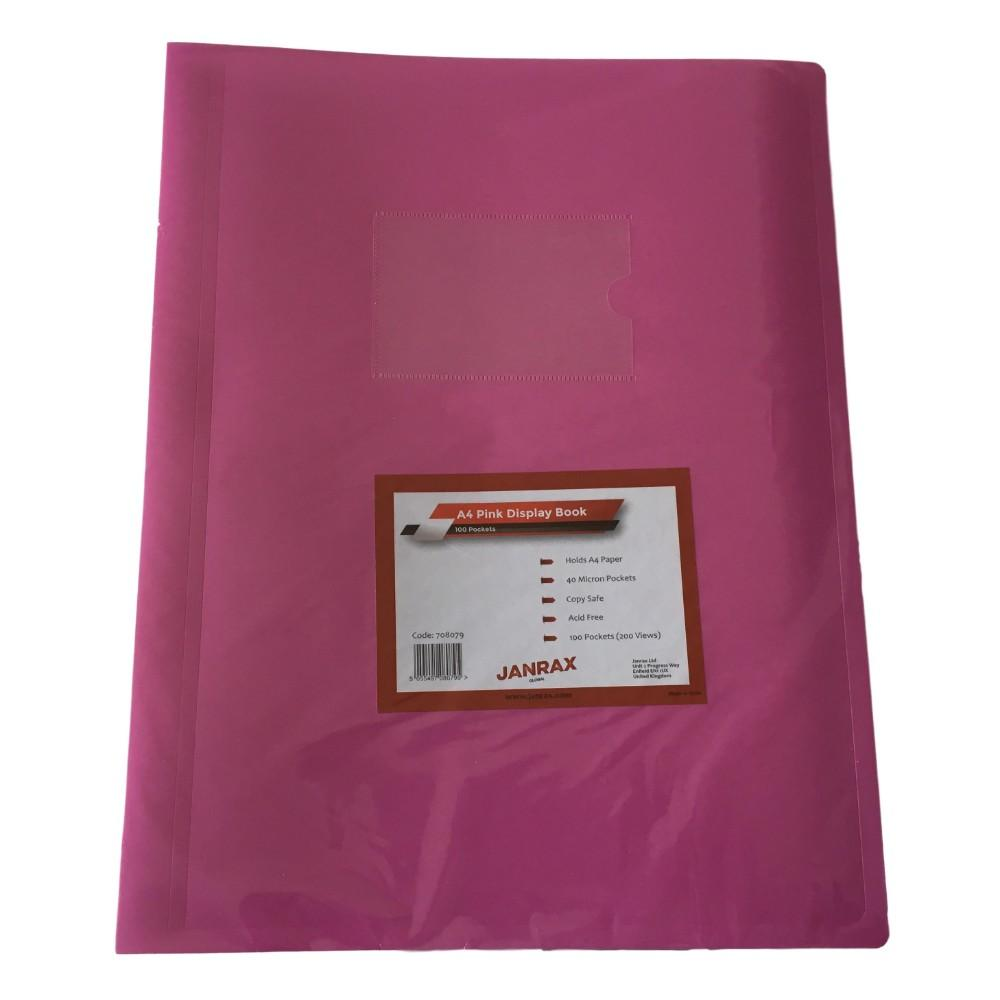 A4 Pink Flexible Cover 100 Pocket Display Book