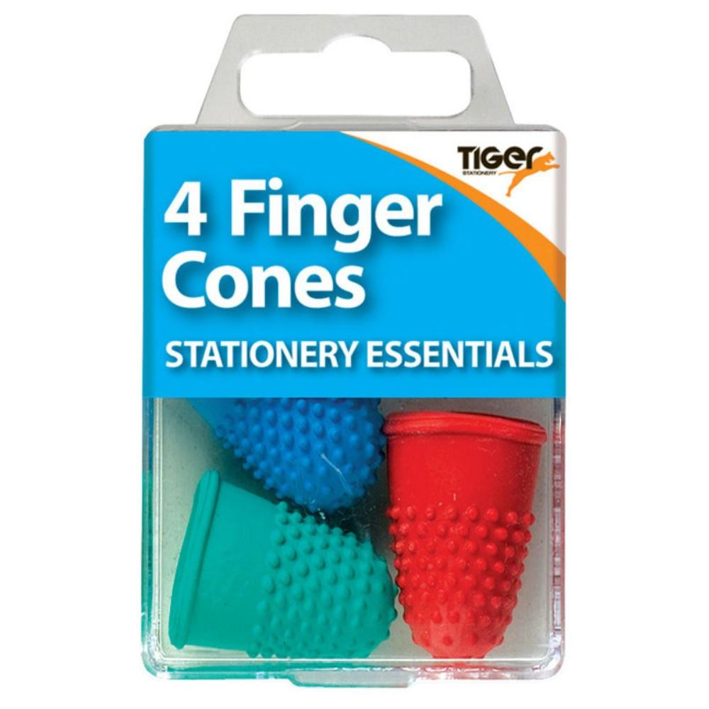Pack of 4 Rubber Finger Cones Coloured
