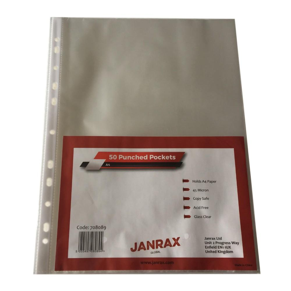 Pack of 50 A4 Glass Clear Punched Pockets by Janrax