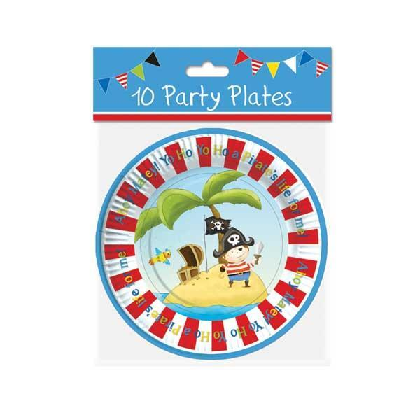 "Pack of 10 7"" Pirate Design Plates"