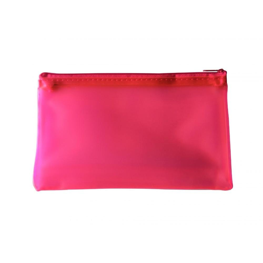 "8x5"" Frosted Pink Pencil Case - See Through Exam Clear Translucent"