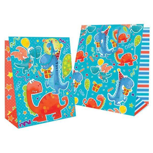 Pack of 12 Medium Dinosaur Design Gift Bag