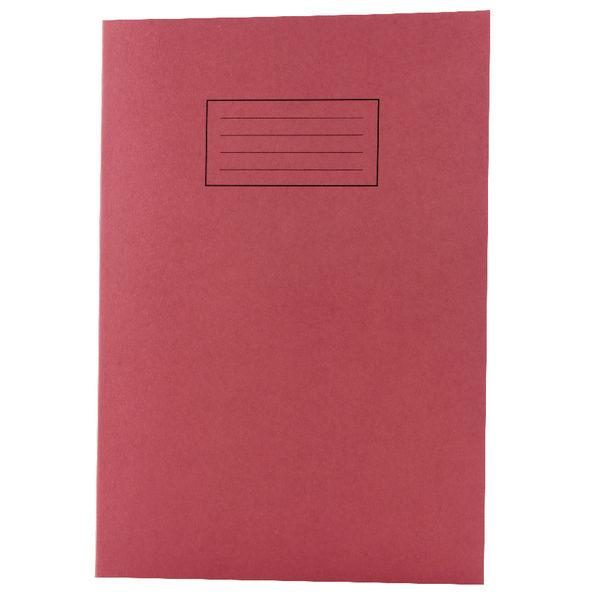 Pack of 100 Tough Shell Covers A4 Red Exercise Books - Ruled with Margin