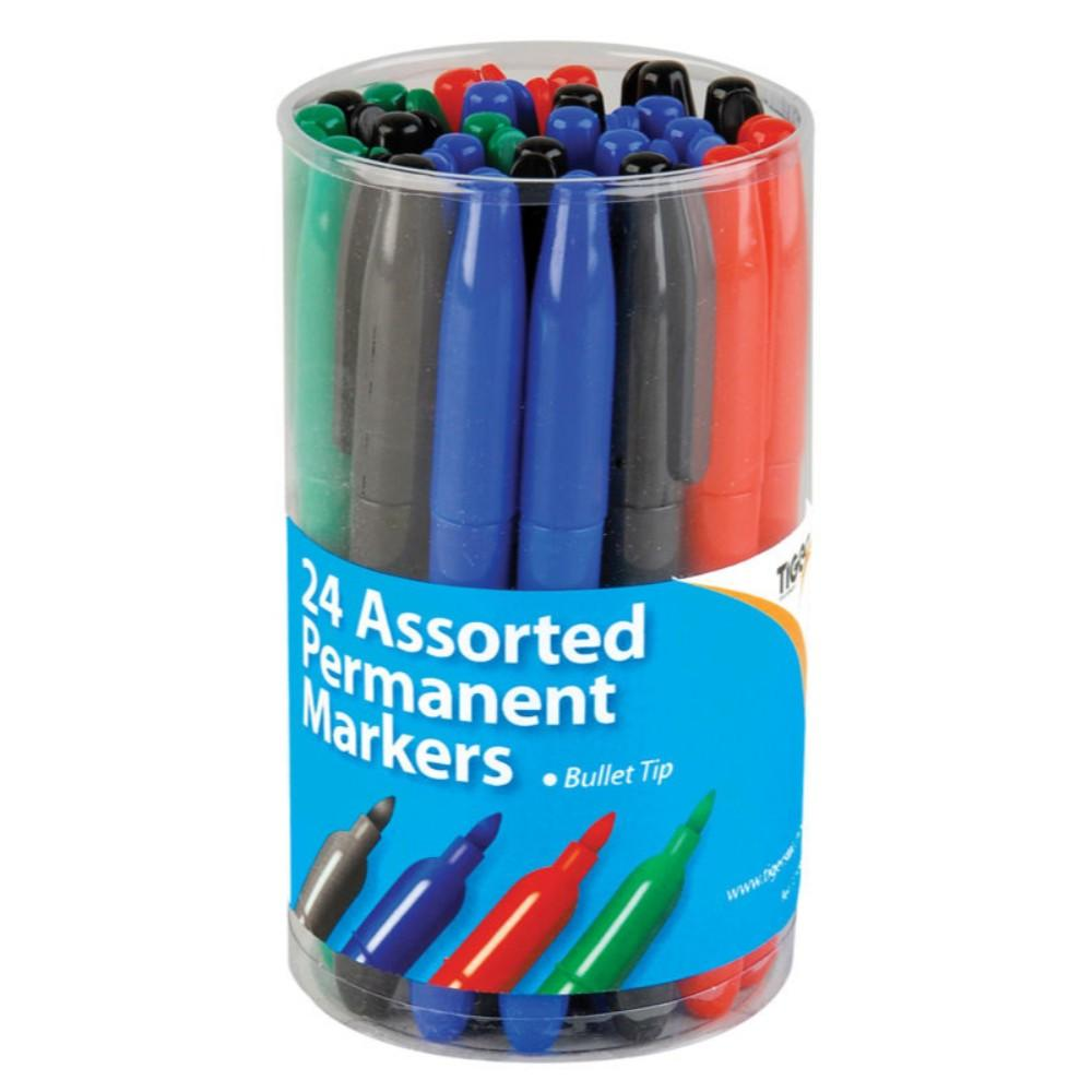 Tub of 24 Fine Bullet Tip Permanent Assorted Colour Marker Pens