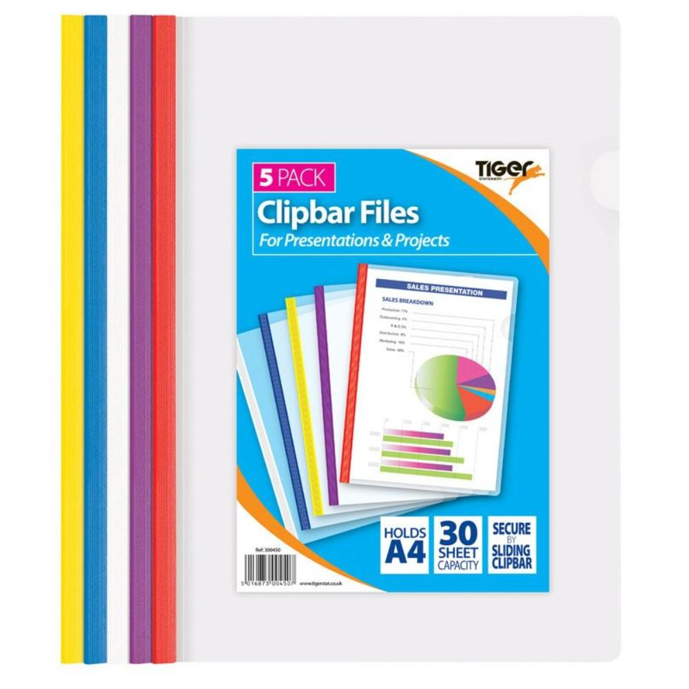 Pack of 5 Assorted A4 Clip Bar Files