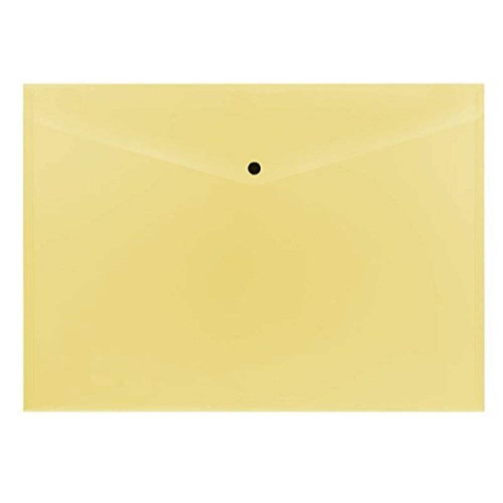 Pack of 12 Janrax A3 Yellow Document Wallets - Button Stud Folder