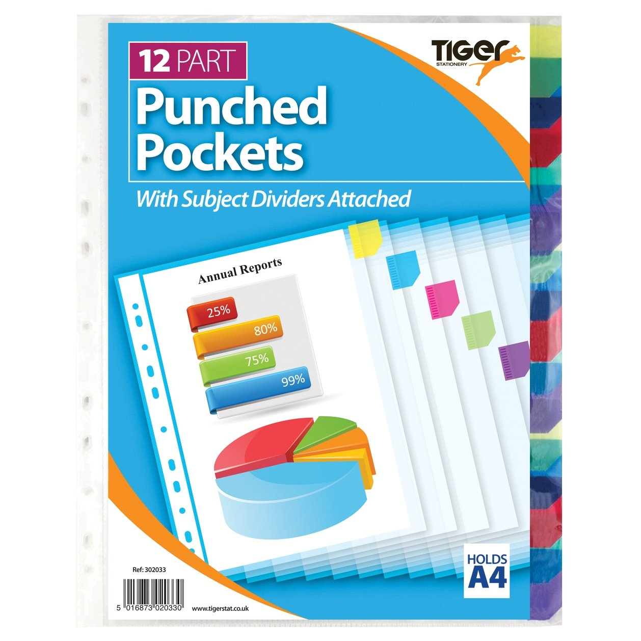 12 Part Punched Pockets with Subject Dividers Attached