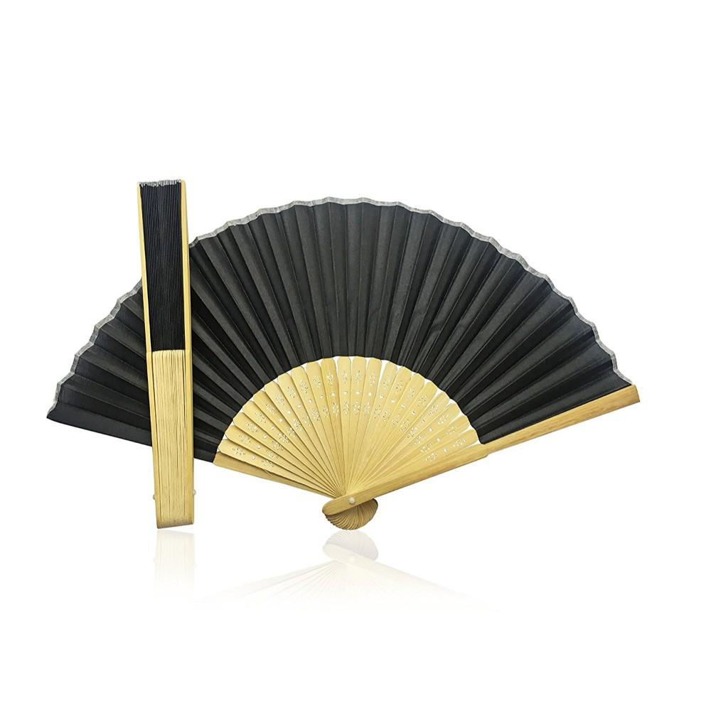 Black Fabric Hand Held Bamboo and Wooden Fan