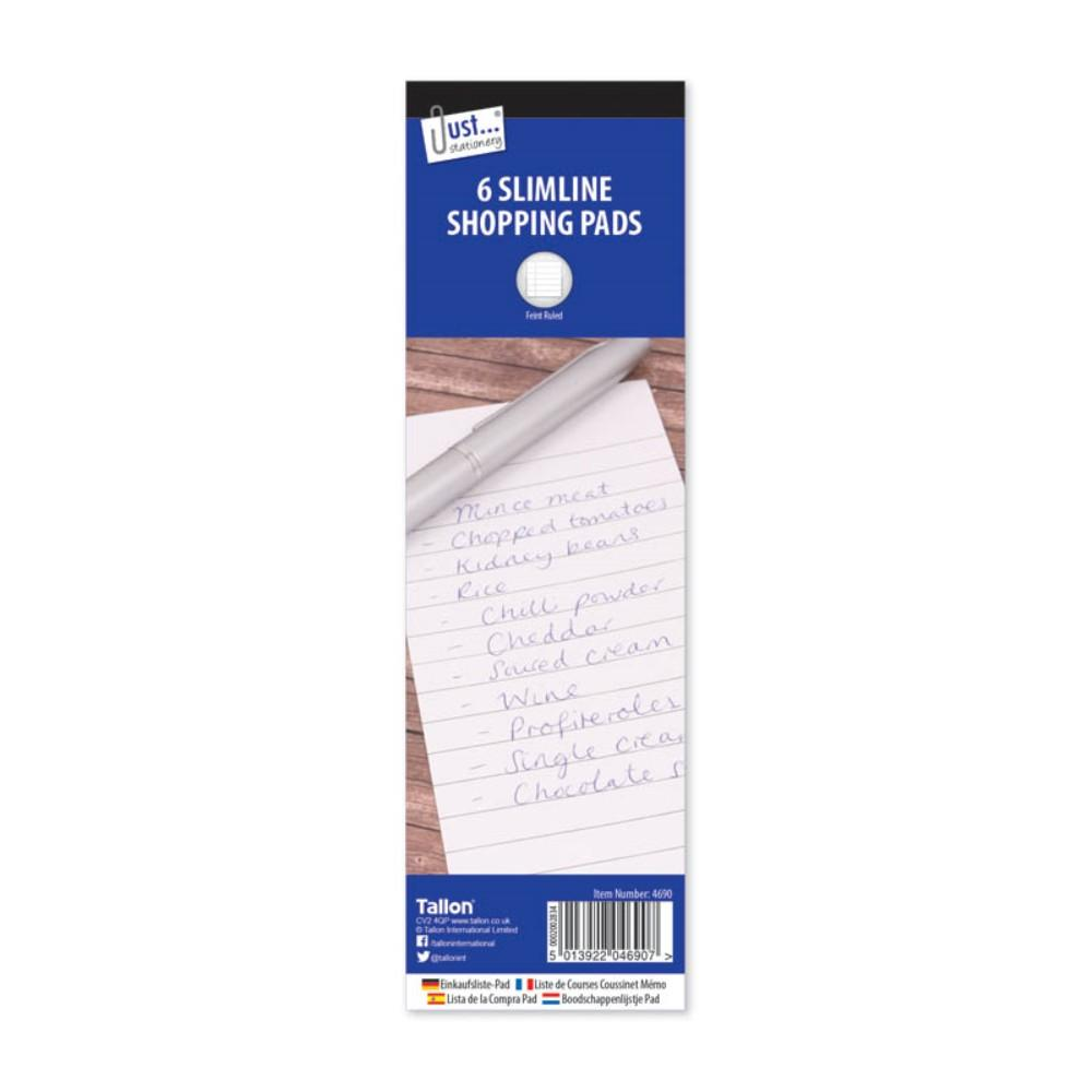 6 Shopping Pads Lined Paper 75 x 210 mm
