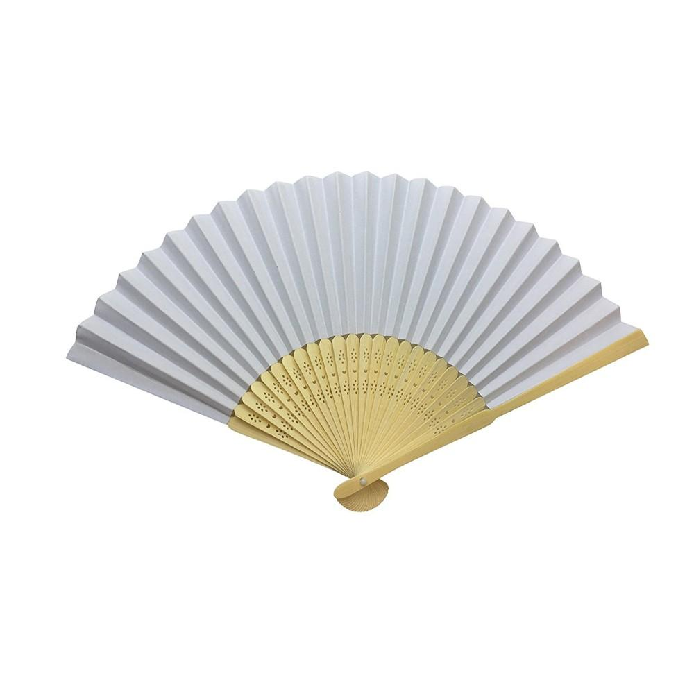 White Paper Foldable Hand Held Bamboo Wooden Fan