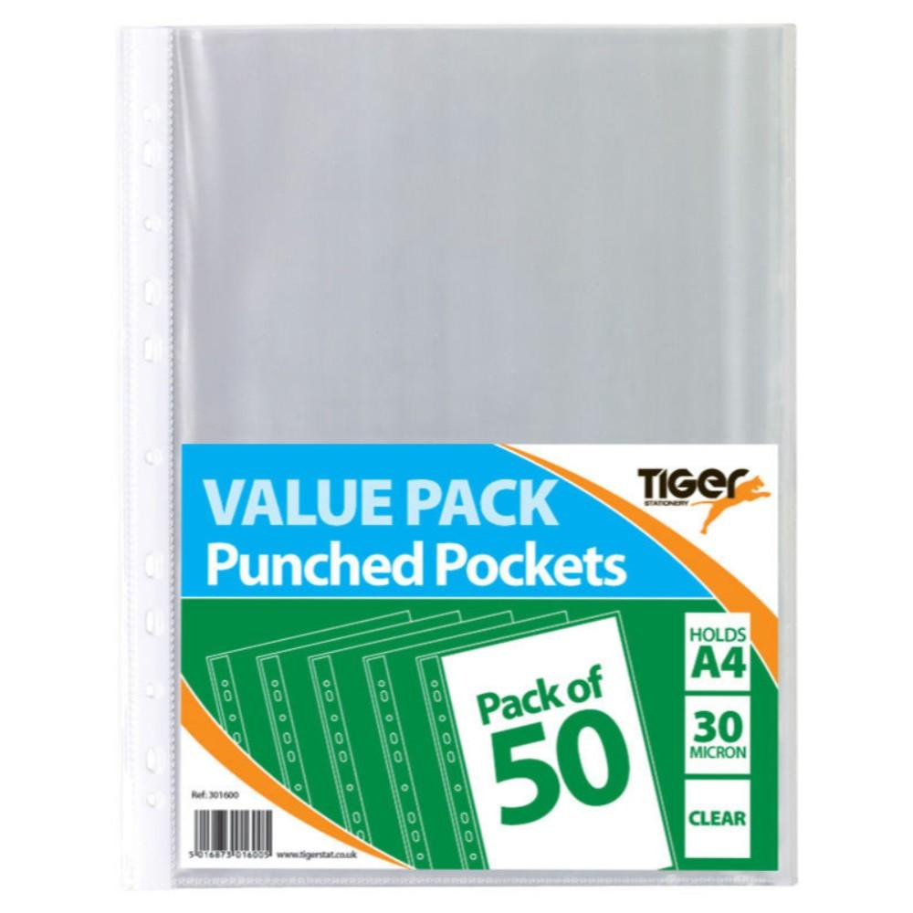 Pack of 50 A4 Value Punched Pockets