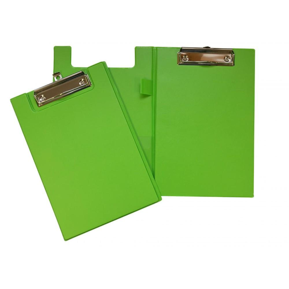 A5 Neon Green Foldover Clipboard with Pen Holder