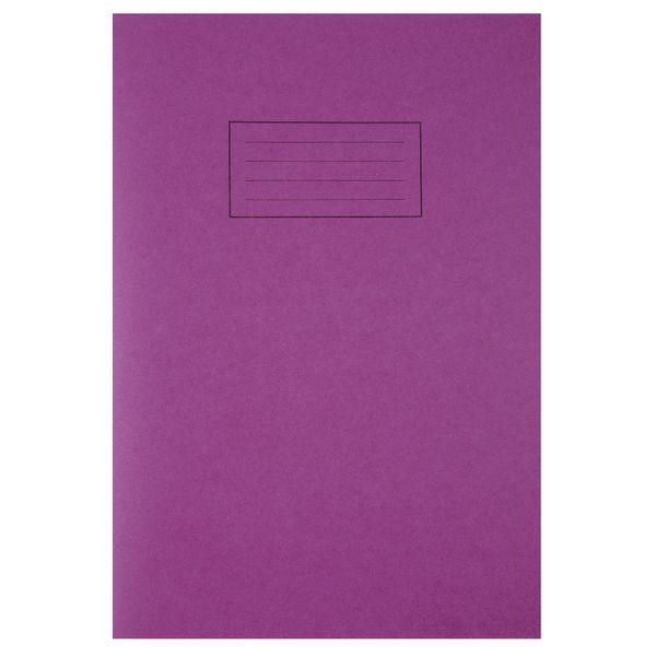 Pack of 100 A4 Purple Exercise Books 80 Pages - Feint Ruled with Margin