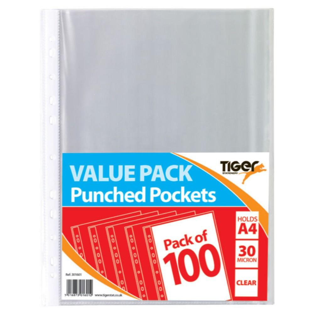 Pack of 100 A4 Value Punched Pockets