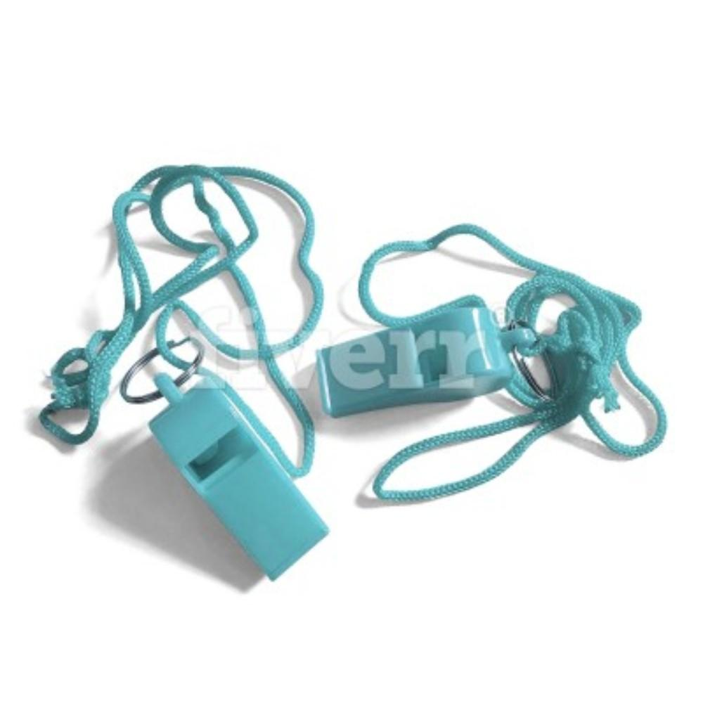 Bag of 100 Light Blue Plastic Whistles with Lanyard Neck Cord