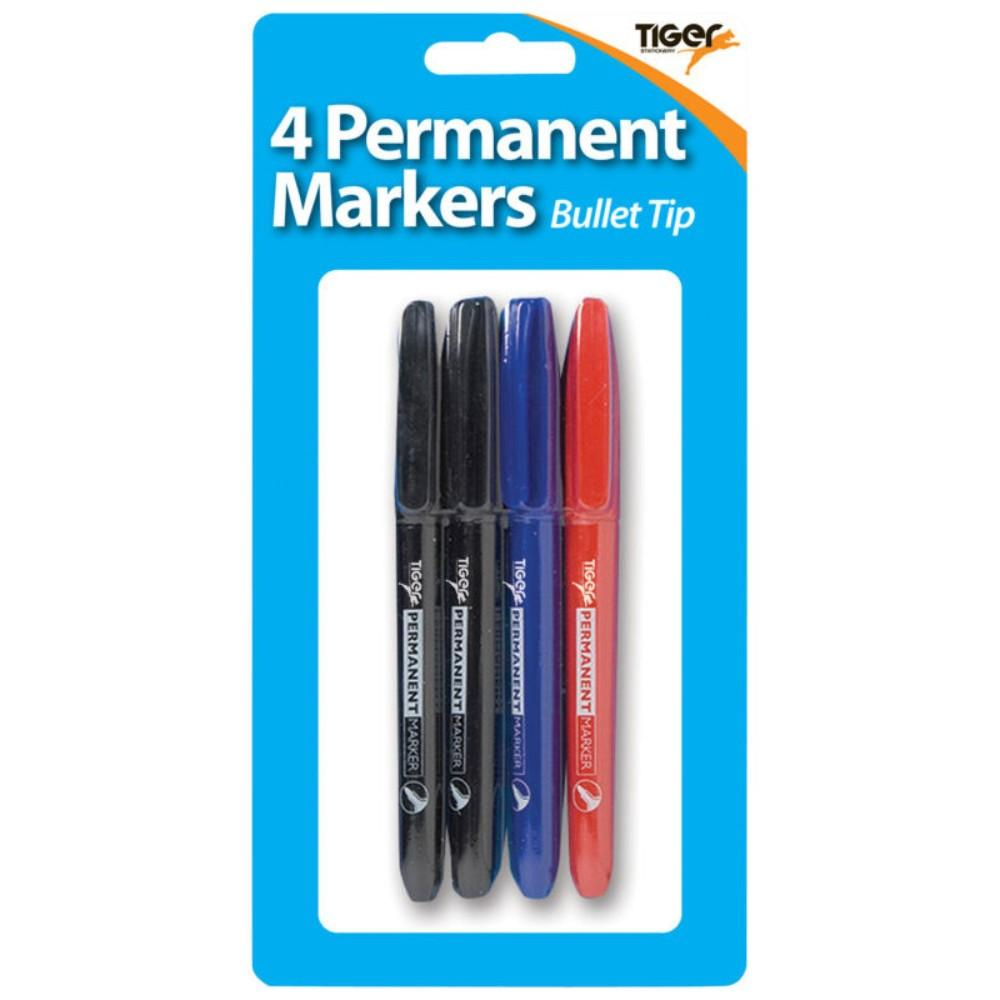 Pack of 4 Fine Bullet Tip Permanent Assorted Colour Marker Pens
