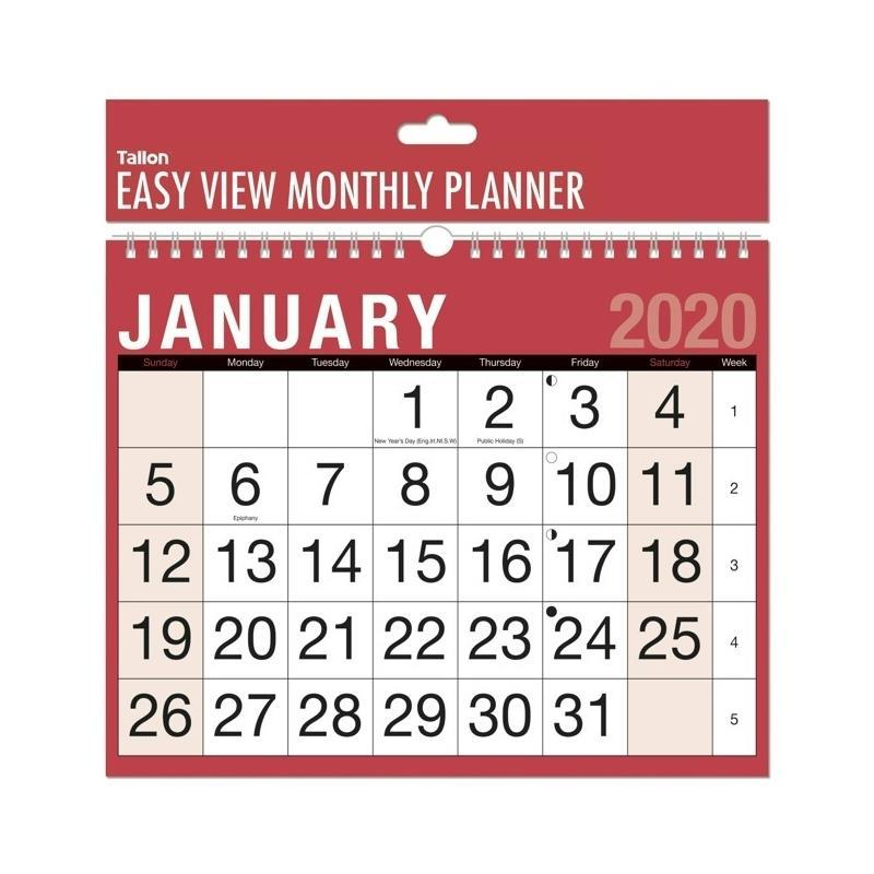 2020 Easy View Monthly Planner Calendar