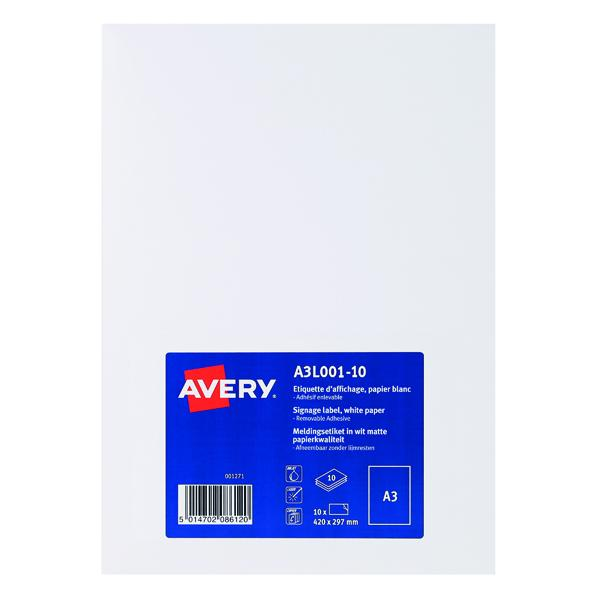 Avery Standard Display Labels A3 (Pack of 10) A3L001-10