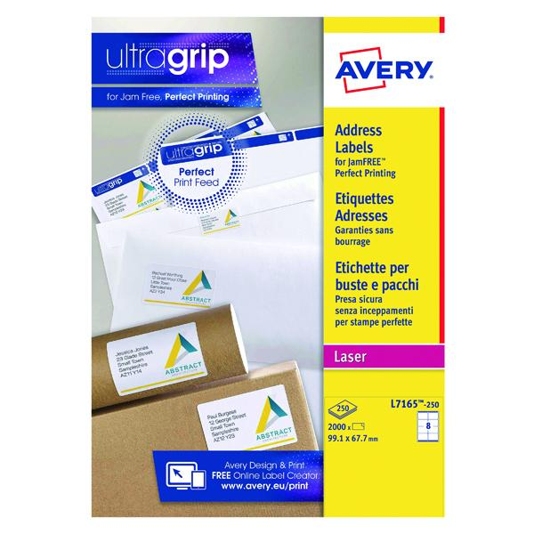 Avery Ultragrip Laser Labels 99.1x67.7mm White (Pack of 2000) L7165-250