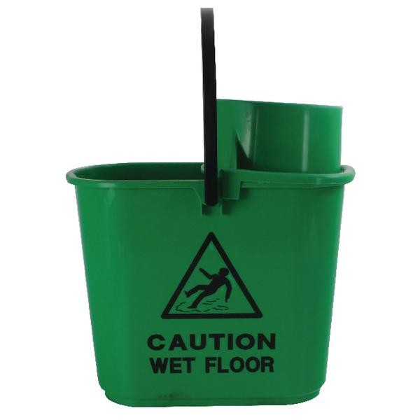2Work Plastic Mop Bucket with Wringer 15 Litre Green 102946GN