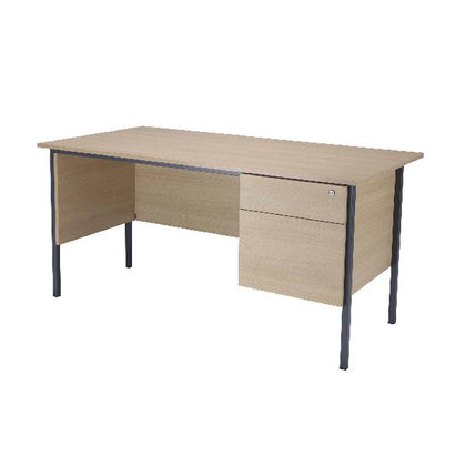 Serrion Warm Maple 1500mm 4 Leg Desk with 2 Drawer Pedestal KF838536