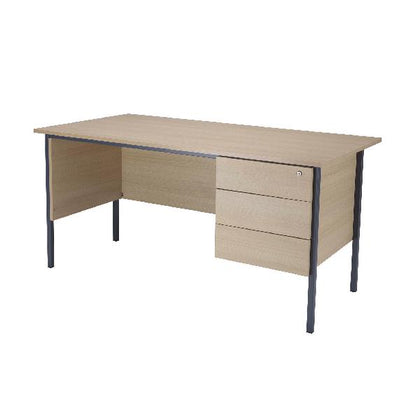 Serrion Warm Maple 1500mm 4 Leg Desk with 3 Drawer Pedestal KF838537