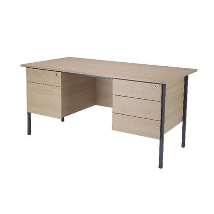 Serrion Warm Maple 1800mm 4 Leg Double Pedestal Desk KF838766