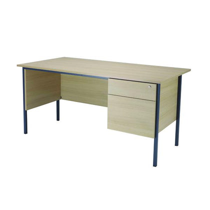 Serrion Warm Maple 1800mm 4 Leg Desk with 2 Drawer Pedestal KF838791